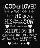 Golden Bible verse John 3 16 For God so loved the world, made hand lettering with hearts on black background. Golden Bible verse John 3 16 For God so loved the royalty free illustration