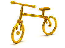 Golden bicycle icon. 3d illustration of golden bicycle Royalty Free Stock Photography