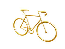 Golden bicycle. Golden racing bicycle symbol isolated on white background Stock Photo