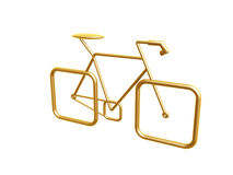 Golden bicycle. Golden racing bicycle symbol isolated on white background Royalty Free Stock Images