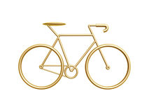 Golden bicycle. Golden racing bicycle symbol isolated on white background Stock Image