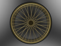 Golden bicycle wheel Royalty Free Stock Images