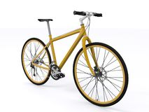 Golden bicycle. On white background Stock Images