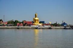 Golden Big Buddha statue image at Wat Bangchak Temple Stock Image
