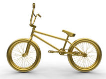Golden bike illustration. 3D render illustration of a golden bike. The object is isolated on a white background with shadows Royalty Free Stock Photo