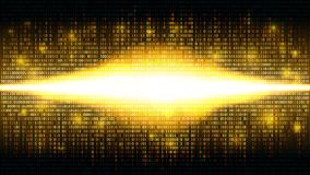Golden binary abstract background with bright radiance in the digital space, glowing cloud of big data Stock Photos