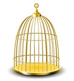 Golden bird cage Stock Photos