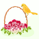 Golden bird and flowers. Vector illustration without gradients Royalty Free Stock Images