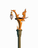 Golden bird lantern  on the top of pole. - ( white backgr Royalty Free Stock Photography