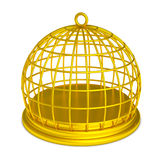 Golden birdcage gold prison isolated. Isolated gold bird cage. Luxury prison. Empty golden jail. PNG with transparent background Stock Images