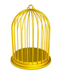 Golden birdcage gold prison isolated. Isolated gold bird cage. Luxury prison. Empty golden jail. PNG with transparent background Royalty Free Stock Photo