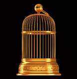 Golden birdcage isolated on black Stock Photo