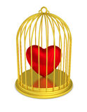 Golden birdcage heart trapped love. Isolated gold bird cage with red heart trapped. Locked mind. Love criminal. PNG with transparent background Royalty Free Stock Photos