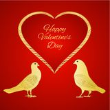 Golden birds Pigeons and heart valentines place for text red background vintage vector illustration editable. Hand draw stock illustration
