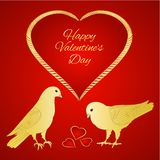 Golden birds Pigeons and heart valentines place for text red background vintage vector illustration editable. Hand draw vector illustration
