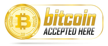 Golden Bitcoin Accepted Here. Golden bitcoin coin with frame and text Bitcoin Accepted Here Royalty Free Stock Photography