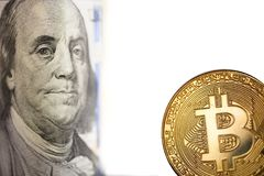 Golden Bitcoin and banknotes Stock Photography