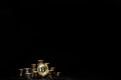 Golden bitcoin on black background. conceptual image for crypto currency. Stock Image