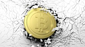 Golden bitcoin breaking forcibly through a white wall. 3d illustration. Cryptocurrency breakthrough concept. Bitcoin breaking with great force through a white Royalty Free Stock Photo