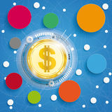 Golden Bitcoin Circle Networks Blue Background Stock Image