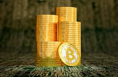 Golden Bitcoin on circuit board layout - 3D rendering Stock Image