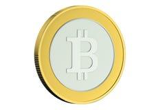 Golden Bitcoin closeup Stock Image
