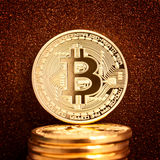 Golden bitcoin coin Stock Photo