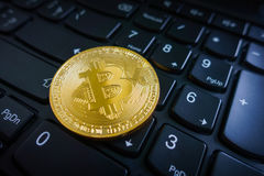 Golden bitcoin coin on the black laptop keyboard. Royalty Free Stock Image