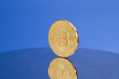 Golden Bitcoin coin Royalty Free Stock Photo
