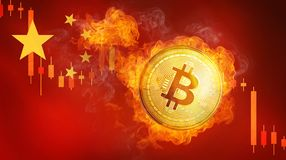 Golden bitcoin coin on China flag in fire is falling. Burning crypto currency bitcoin cash falling down, Chinese blockchain cryptocurrency market crash bubble Royalty Free Stock Images