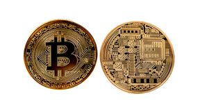 Golden Bitcoin Coin Close Up royalty free stock images