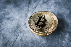 Golden bitcoin coin Crypto Currency background. Royalty Free Stock Images