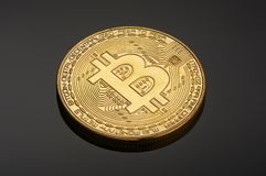 Golden bitcoin coin Stock Images