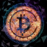 Golden bitcoin coin in fire flame. Bitcoin Gold blockchain hard fork concept. Cryptocurrency symbol with peer to peer. Network background Royalty Free Stock Photography