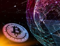 Golden bitcoin coin in fire flame. Bitcoin Gold blockchain hard fork concept. Cryptocurrency symbol with peer to peer. Network background Royalty Free Stock Photos