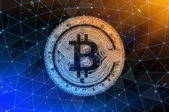 Golden bitcoin coin in fire flame. Bitcoin Gold blockchain hard fork concept. Cryptocurrency symbol with peer to peer. Network background Royalty Free Stock Photo