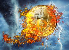 Golden bitcoin coin flying in fire flame. Burning crypto currency bitcoin symbol illustration isolated on black background. 3D ren. Dering royalty free illustration