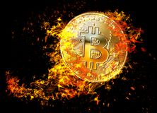 Golden bitcoin coin flying in fire flame. Burning crypto currency bitcoin symbol illustration isolated on black background. 3D ren vector illustration