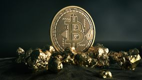Golden Bitcoin Coin and mound of gold. Bitcoin cryptocurrency. Business concept. Stock Photography