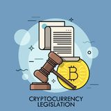 0191Golden bitcoin coin, paper sheet with text and gavel. Golden bitcoin coin, paper sheet with text and gavel. Concept of cryptocurrency legislation, digital Stock Image