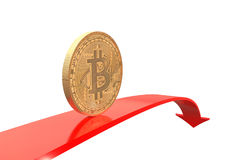 Golden bitcoin coin on red arrow downward royalty free illustration