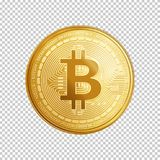 Golden bitcoin coin symbol. Golden bitcoin coin. Crypto currency golden coin bitcoin symbol  on transparent background. Realistic vector illustration Royalty Free Stock Photo
