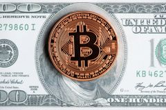 Golden bitcoin coin on us dollars close up. Cryptography, cash royalty free stock image