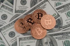 Golden bitcoin coin on us dollars close up. Cryptography, cash royalty free stock photography