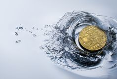 Golden bitcoin coin with water splash crypto currency background. Concept Royalty Free Stock Photography