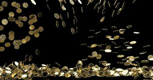 Golden bitcoin coins fall and fill the screen, digital money rain. Gold coins. Best for for winners.