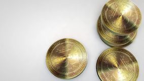 Golden bitcoin coins falling on white background. Animation stock video footage