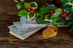 Golden bitcoin coins on a paper dollars money Virtual currency. Royalty Free Stock Image