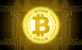Golden bitcoin cryptocurrency abstract background vector. Illustration Stock Images