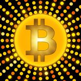 Golden bitcoin cryptocurrency on abstract golden background. Vector illustration Royalty Free Stock Photography